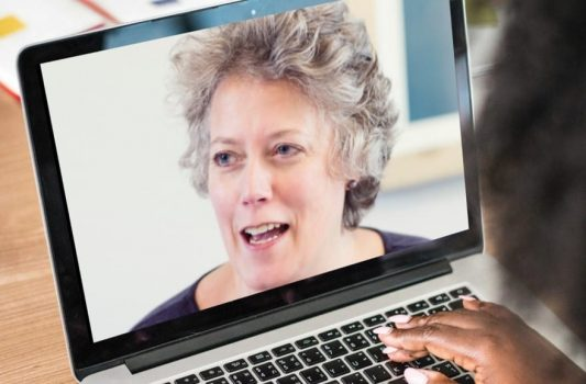 Image of Rachael Wheatley on computer screen